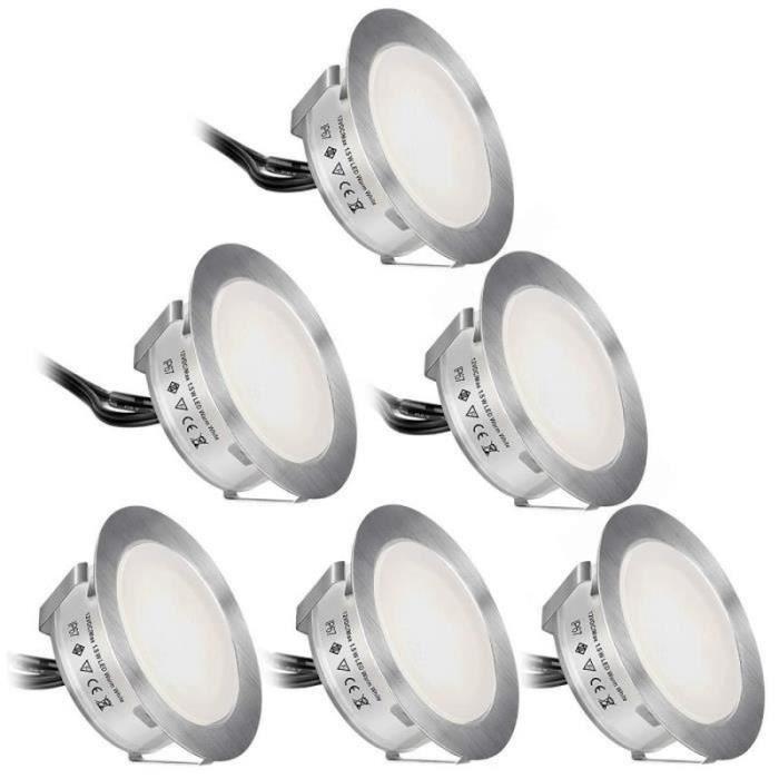CM35894- 6 Pcs Spots LED Encastrable Extérieur Etanche IP67 Spots à Encastrer pour Terrasse Bois Plafond, 0,6W DC12V Blanc Froid
