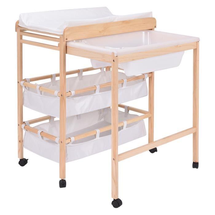 Table à langer en bois commode avec baignoire à roulettes
