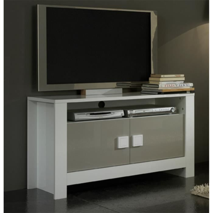 meuble tv pisa laque bicolore blanc gris achat vente meuble tv meuble tv pisa laque bicolo. Black Bedroom Furniture Sets. Home Design Ideas