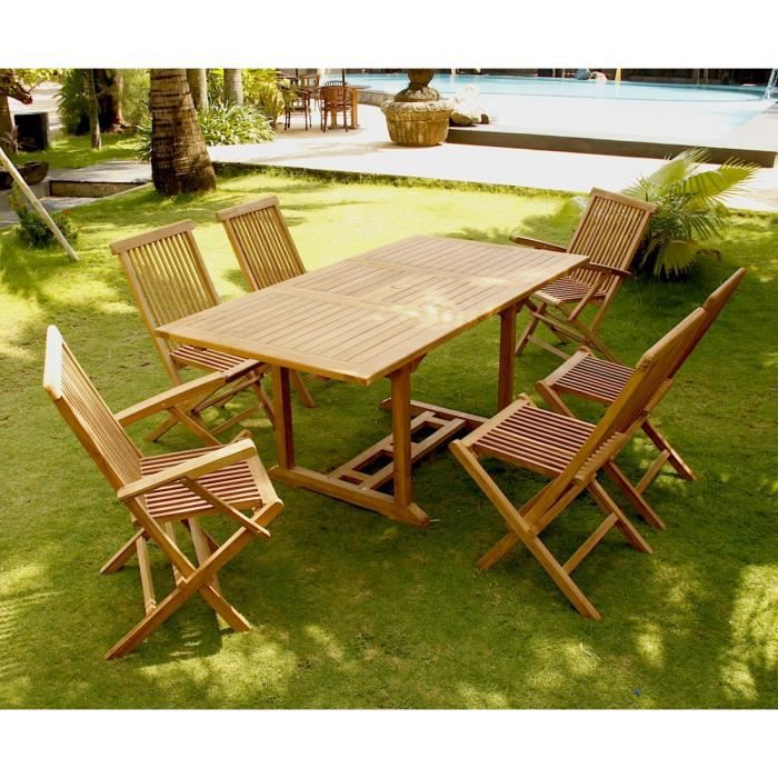 DERBIN 6TR+4C+2F - Salon de jardin Teck massif 6 pers - table ...