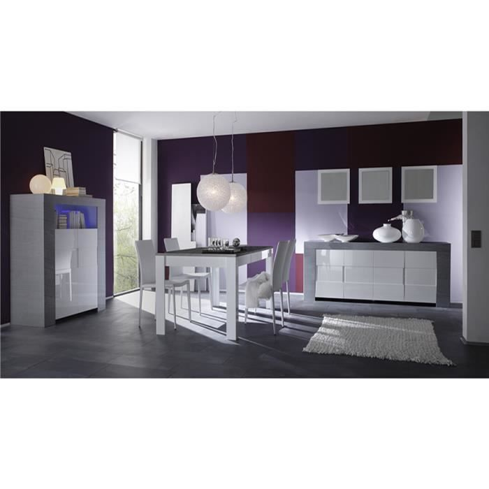salle manger compl te blanc laqu et couleur bois gris. Black Bedroom Furniture Sets. Home Design Ideas