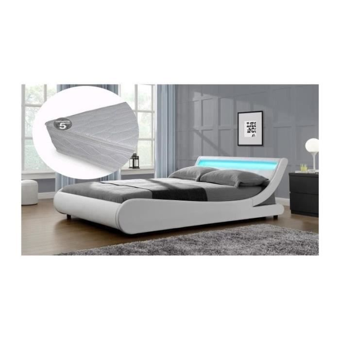 lit saturne 180x200cm blanc a led avec matelas achat vente lit complet lit saturne 180x200cm. Black Bedroom Furniture Sets. Home Design Ideas