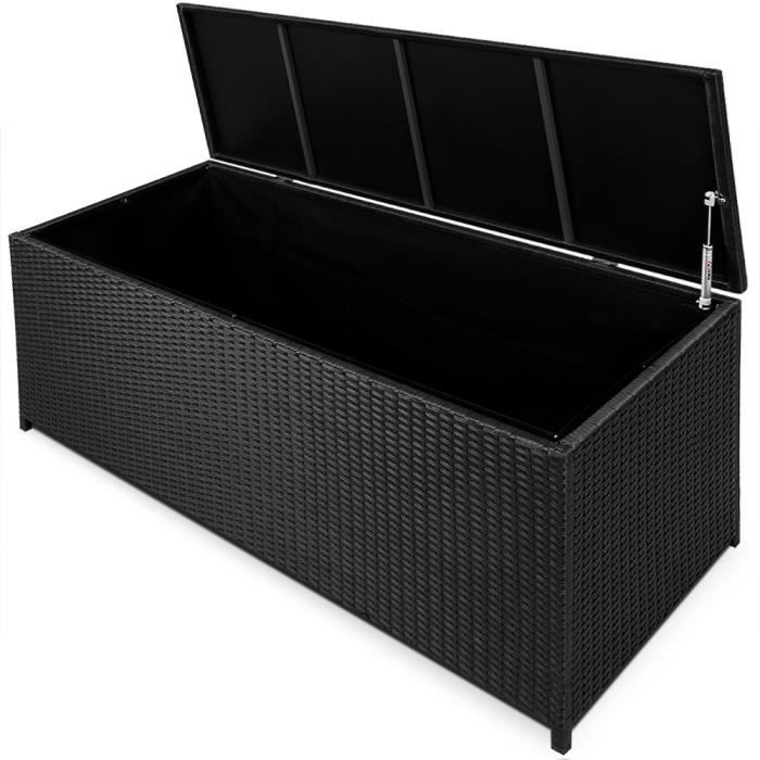 banc de rangement en polyrotin noir avec v rins achat. Black Bedroom Furniture Sets. Home Design Ideas