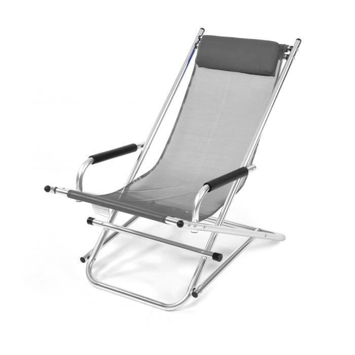 Transat pliant à bascule en aluminium tissu textilène gris mobilier de  jardin