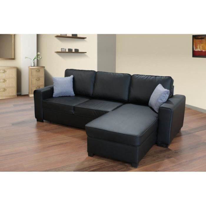 canap d angle convertible lit simili cuir noir achat vente canap sofa divan cdiscount. Black Bedroom Furniture Sets. Home Design Ideas