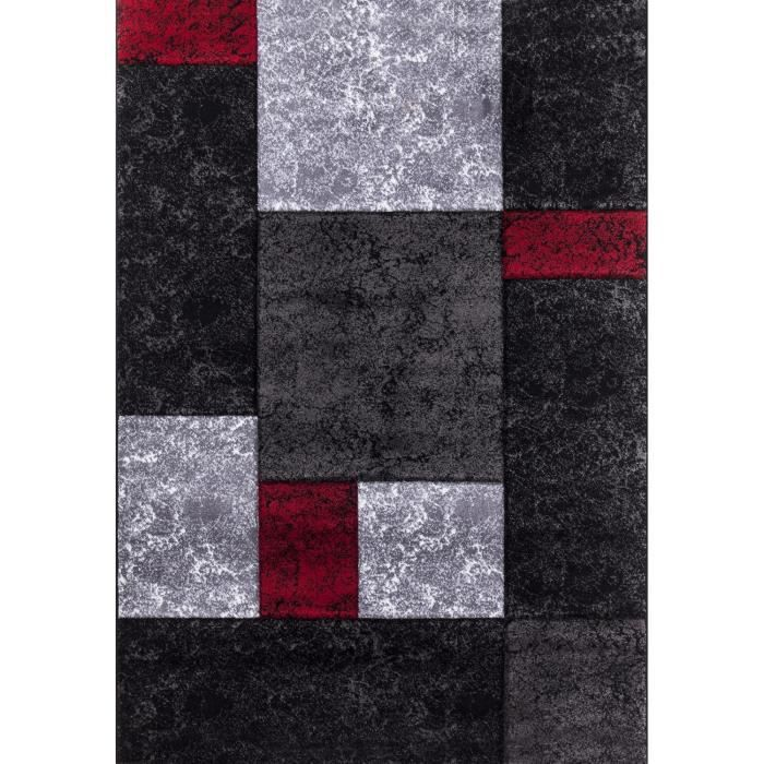 tapis salon rouge et gris achat vente tapis salon rouge et gris pas cher cdiscount. Black Bedroom Furniture Sets. Home Design Ideas