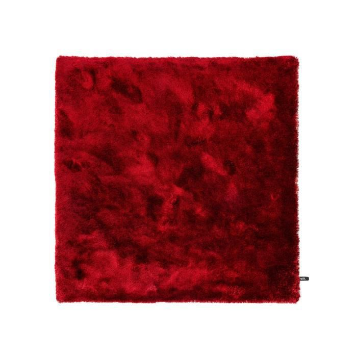benuta tapis poils longs whisper rouge 150x150 cm. Black Bedroom Furniture Sets. Home Design Ideas