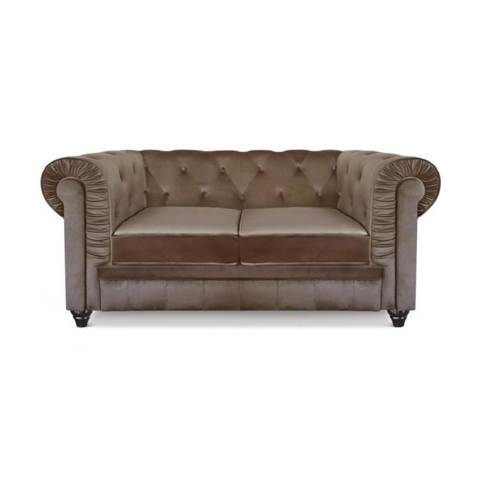 Canap chesterfield 2 places velours taupe achat vente canap sofa di - Vente canape chesterfield ...