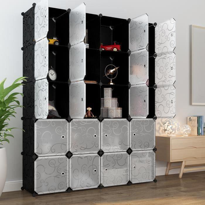 CASIER POUR MEUBLE LANGRIA 20 Cubes Penderie Modulable avec Portes -