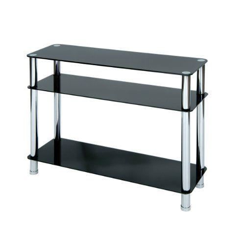 levv table console en verre avec pieds chrom s noir achat vente console levv table console. Black Bedroom Furniture Sets. Home Design Ideas