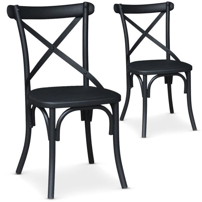 lot de 2 chaises bistrot en m tal angie noir mat achat vente chaise soldes d s le 10. Black Bedroom Furniture Sets. Home Design Ideas