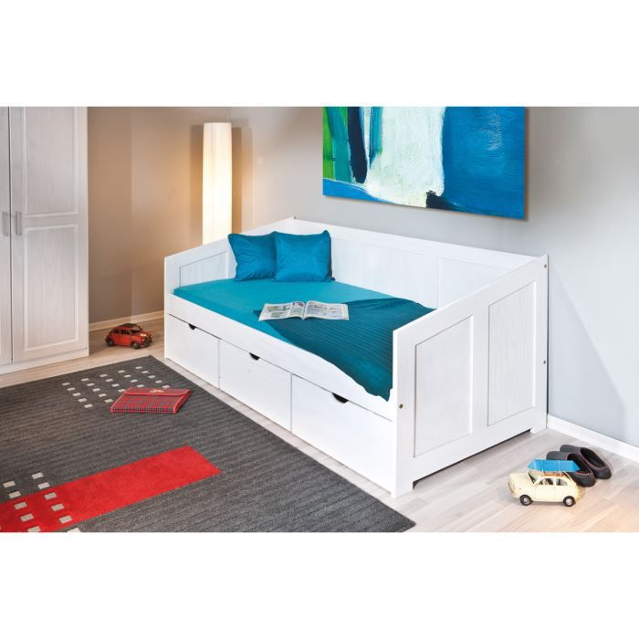 miliboo lit enfant banquette tiroirs blanc achat. Black Bedroom Furniture Sets. Home Design Ideas