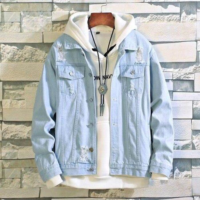 Homme sweat à capuche veste à capuche en jersey doux bleu jean petit moyen large xl 2XL 3XL 4X