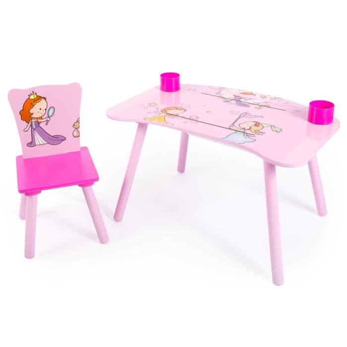 Ensemble table et chaise motif princesse achat vente for Table et chaise bebe 2 ans