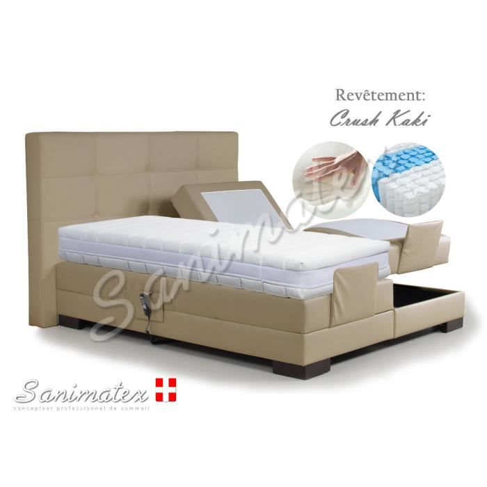 lit electrique boxspring 180x200 guatemala amazonia beige achat vente lit complet lit. Black Bedroom Furniture Sets. Home Design Ideas