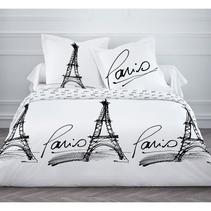 housse de couette 220x240cm dessin imprim rough of paris avec deux taies d 39 oreiller 63x63cm. Black Bedroom Furniture Sets. Home Design Ideas