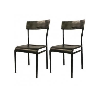 lot de 2 chaises esther m tal noir achat vente chaise m tal bois fer cuivre cdiscount. Black Bedroom Furniture Sets. Home Design Ideas