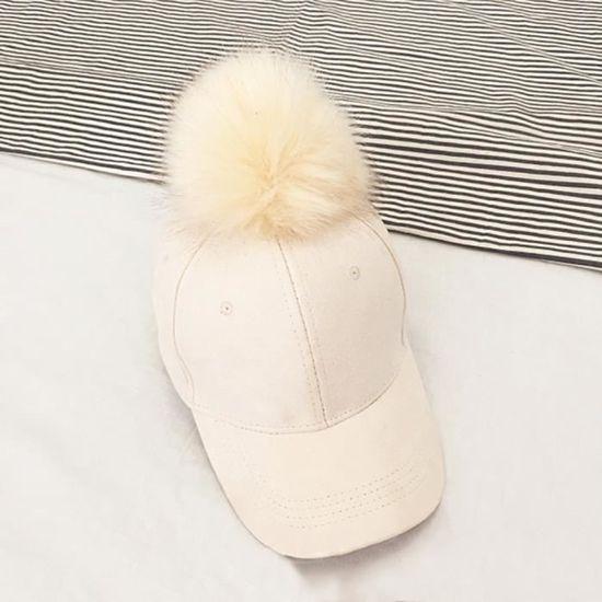 Femmes Faux fourrure de renard pompon boule en daim réglable Casquette de Baseball Hip-Hop Hat