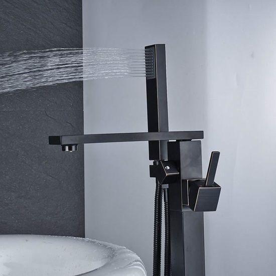 Rozin Robinet de baignoire classique avec douchette et robinetterie de salle de bain Noir