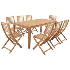 Ensemble table et chaise de jardin Ensemble repas de jardin 8 personnes - Table 180 x