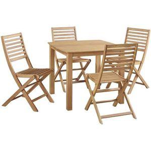 Ensemble table et chaise de jardin Ensemble repas de jardin - table 90x90cm plateau a