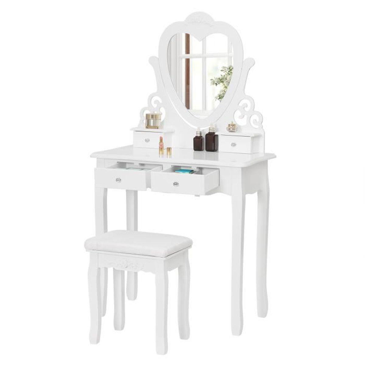 COIFFEUSE WOLTU Coiffeuse table de maquillage avec miroir or