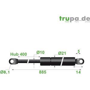 VÉRIN DE CARROSSERIE Vérin à gaz en acier Ø10mm - force 300N - course 4
