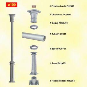 PIQUET - POTEAU Poteau colonne fonte d'aluminium Ø100mm lisse Haut
