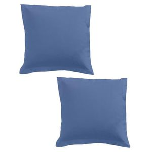 TAIE D'OREILLER TODAY Lot de 2 taies d'oreiller 75x75cm Indigo