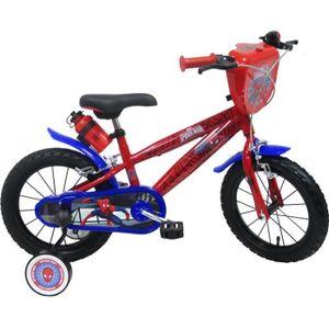 VÉLO ENFANT Vélo 14'' SPIDERMAN équipé de 2 freins, plaque ava