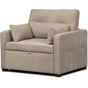FAUTEUIL ETHAN Fauteuil convertible - Tissu Taupe - L 104 x