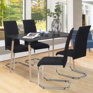 CHAISE Lot de 4 chaises MIA en tissu noir pour salle à ma