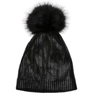 BONNET - CAGOULE styleBREAKER bonnet à pompon, chaud, aspect métall