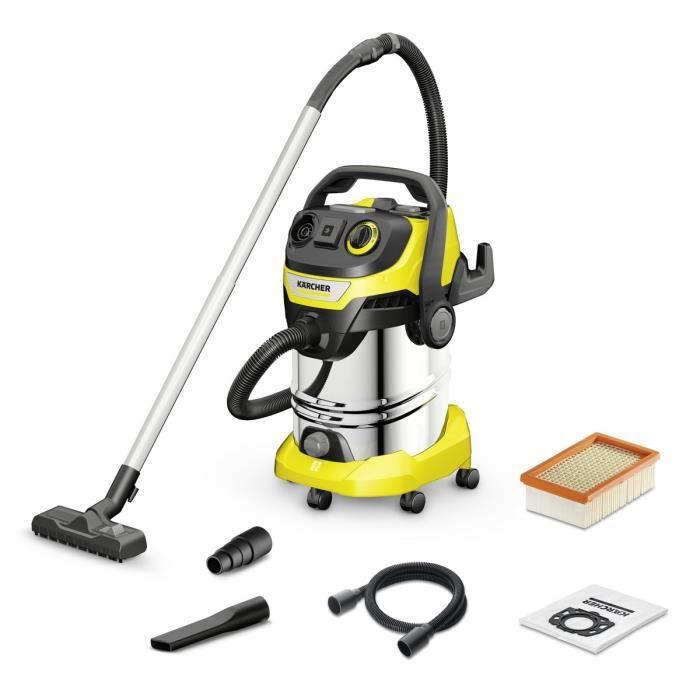 KÄRCHER Aspirateur professionnel eau-poussière WD 6 P Premium - Cuve inox 30 L - 1300 W - Gris et jaune