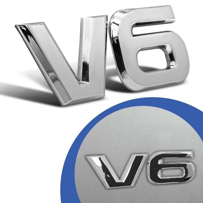 v6 emblème signe signe chrome lettrage logo 3d autocollant auto autocollant autocollant tuning métal