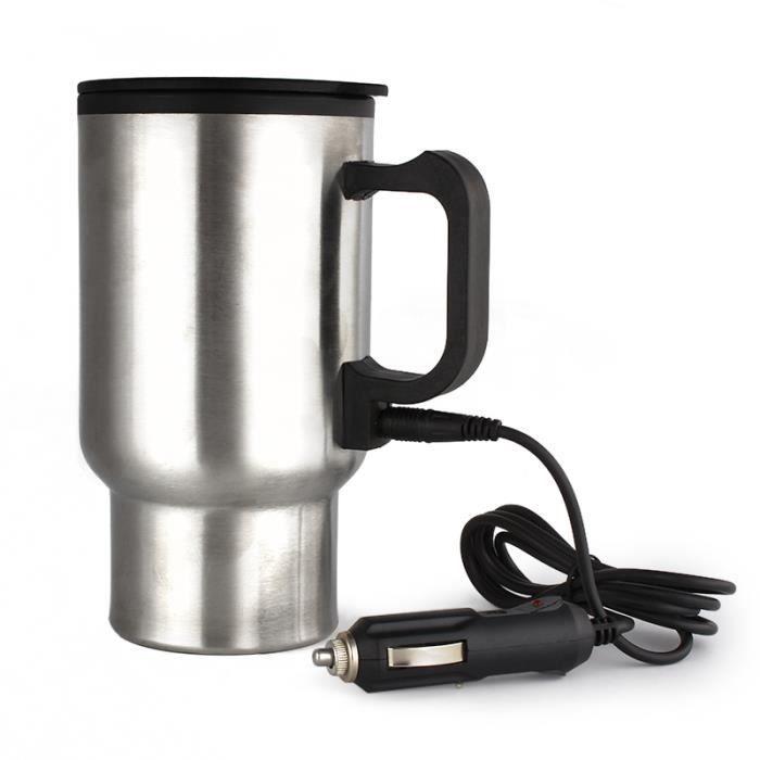 Tea eau café chauffe - DC 12 V en acier inoxydable 450 ml voiture tasse chauffée Thermos tasse voyage