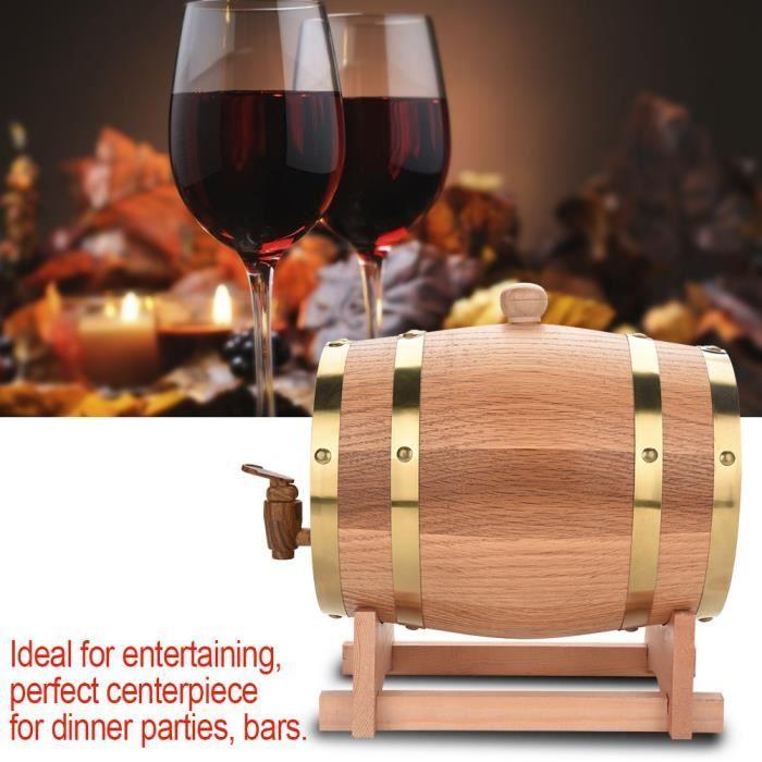 Vin rouge 3L Baril de Vin Chêne Bois Tonneau de Vin Avec Distributeur Pour Vin Rouge -YNJ