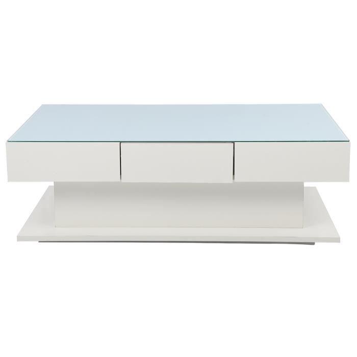 Table basse blanche moderne Table d'appoint en verre trempé avec tiroirs fournitures ménagères-DBA