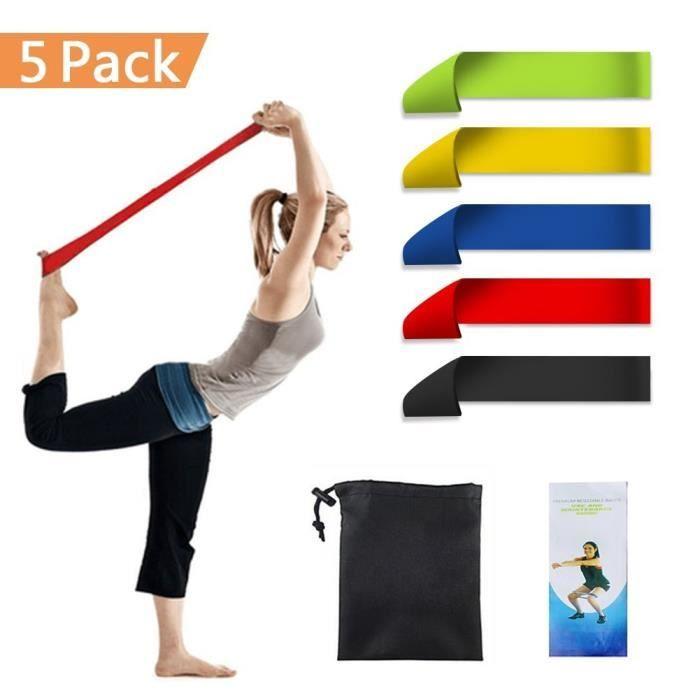 Bande Elastique Fitness Bande de Resistance Set (5) Équipement d'Exercices pour Musculation Pilates Squat Sport et Motrice - Entrain