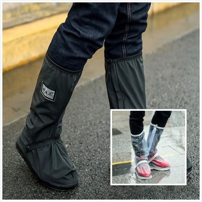 1 paire de couvre-chaussures de pluie anti-pluie imperméable à l'eau imperméable à la pluie de talon plat couvre: S, M, L, XL