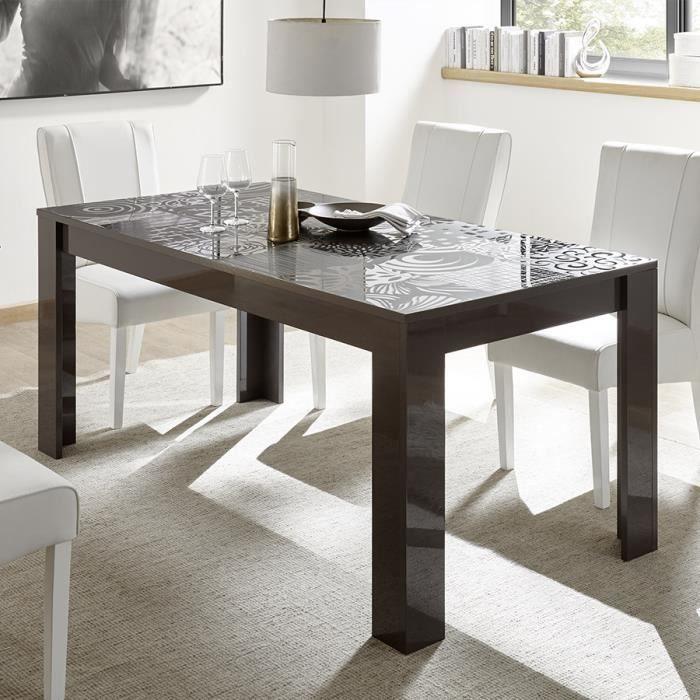 Table avec rallonge 180 cm gris laqué design NERINA 2 L 230 x P 90 x H 79 cm Gris