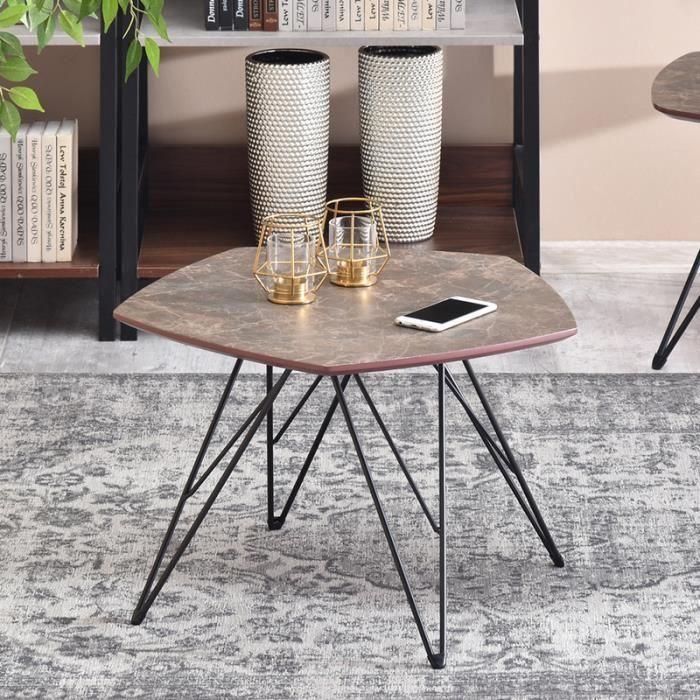 Table basse marbre / Table de salon - PENTA - 57x56 cm - effet marbre brun / noir - forme de pentagone - style industriel