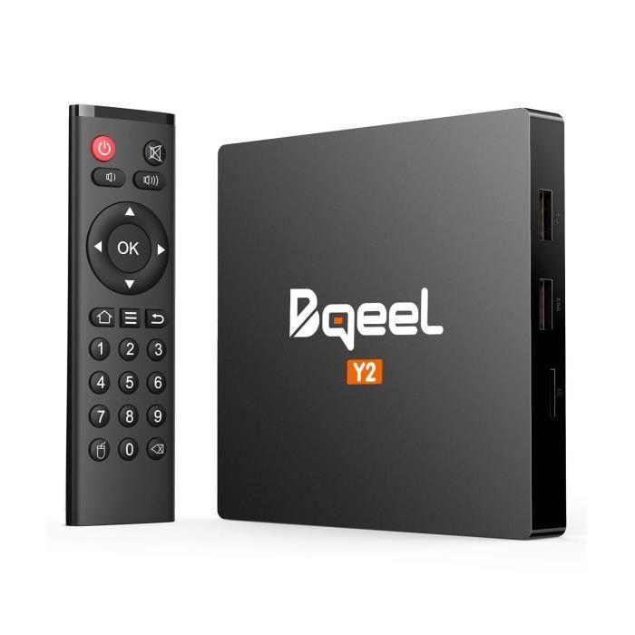 Bqeel Android TV Box 【2GB+16GB】 TV Box Android 7.1 Boîtier Multimédia Y2 H.265 HD Vidéo Quad-Core 64bit Wi-FI 2.4G 802.11 b-g-n 1