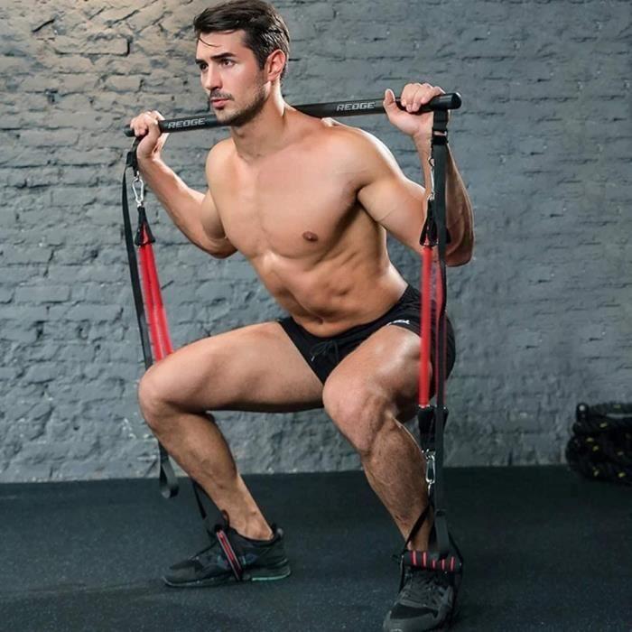 Cretee Kit de Barre de Pilates Professionnel avec 6 Bandes de r&eacutesistance &eacutelastique r&eacuteglable Amovible