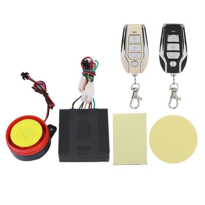 Kit de sécurité de moto d'alarme anti-vol, alarme de vélo de moto anti-vol alarme anti-vol sans fil, 125Db 12V pour vélo