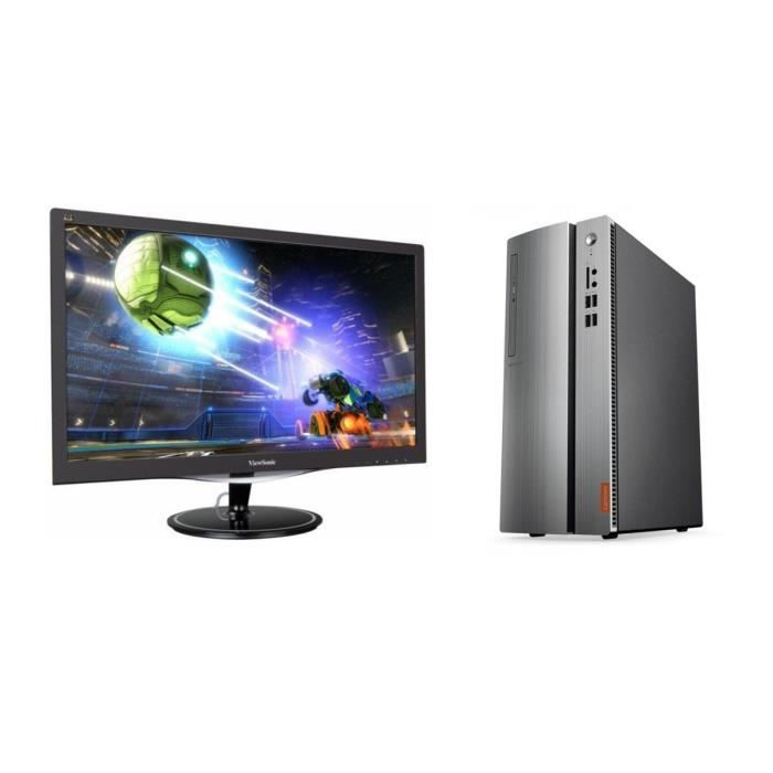 Pack LENOVO PC de bureau Ideacentre - RAM 4Go - AMD E2-9030 - Stockage 1To- AMD Radeon R2 + VIEWSONIC Ecran 24'' Full HD