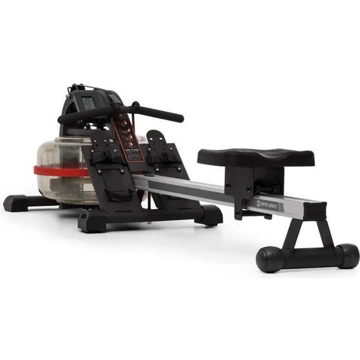 CAPITAL SPORTS Rowlympic Rameur à eau 115cm pour entraînement cardio - Rangement vertical - Charge 150kg max - Cadre aluminium