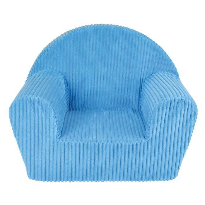 Fun House fauteuil club cotele bleu en mousse pour enfant
