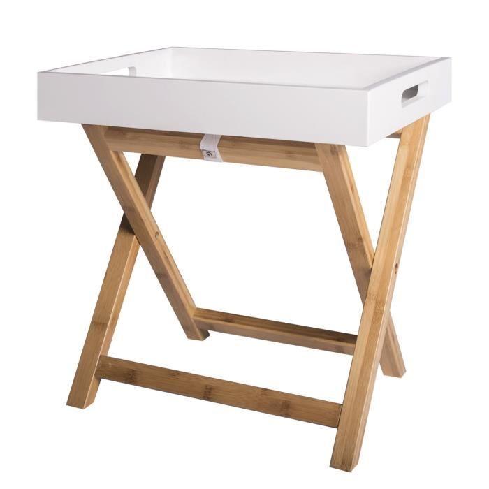 EASY Table d'appoint avec plateau amovible - Blanc - L 40 x P 30 x H 42 cm