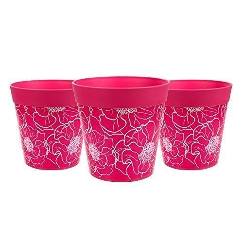 Hum Flowerpots Ensemble de 3 Pots de Fleurs Colorés Floral Rose